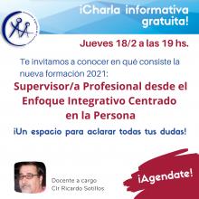 NUEVA Charla Informativa 18/2: Curso de Supervisor/a Profesional