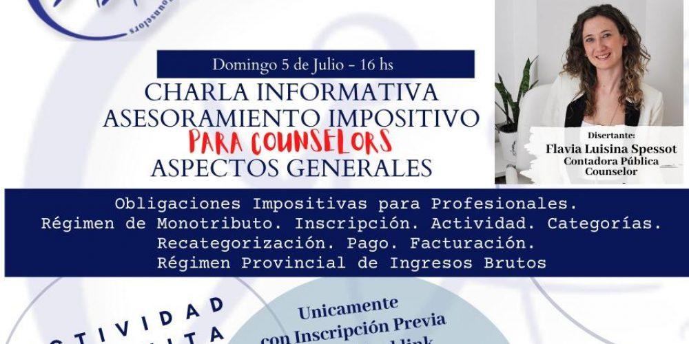 CHARLA MONOTRIBUTO DOMINGO 5 DE JULIO, 16hs.