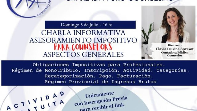 CHARLA MONOTRIBUTO DOMINGO 5 DE JULIO, 16hs.